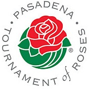 The Pasadena Tournament of Roses Logo which is a red rose with a green stem and the words Pasadena Tournament of Roses written around it in circular form.